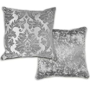 """Damask Velvet Cushion Cover 43x43cm Double Sided 17"""" Seat Pad Cover Silver Grey"""