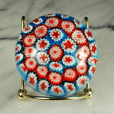 "ITALIAN MURRINA Paperweight Cane ART GLASS 2-3/8"" di 1.75"" tall RED WHITE BLUE"