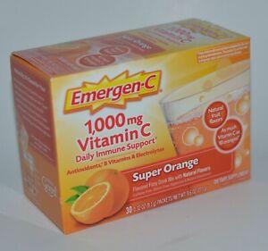 30 Paquets Emergen-C Orange 1000MG Vitamine C Immune Support Supplément Fizzy