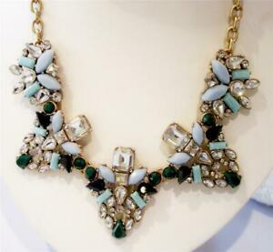 J CREW FACTORY CRYSTAL AND GEM CLUSTERS NECKLACE NWT WARM JADE BLUE