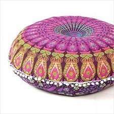 Indian Handmade Mandala Floor Bohemian Cushion Round Pillows cover Throw Pouf