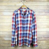 LUCKY BRAND Men's Long Sleeve Button Front Shirt XXL Extra Extra Large Red Blue