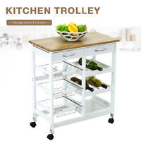 Kitchen Island Cart Trolley Portable Rolling Storage Dining Table 2 Drawers Oak