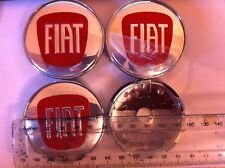 FIAT REPLACEMENT CENTRE CAPS 60 MM RED & CHROME - SET OF 4