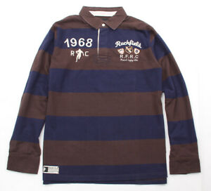 Sebastien Chabal RUCKFIELD French Rugby Club Stripe Rugby Jersey Navy Brown