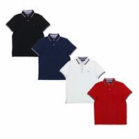 Tommy Hilfiger Mens Polo Shirt Short Sleeve Mesh Collared Top Flag Logo New