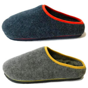 Mens Felt Footbed Warm Lined Slip On Mule Comfy Cosy Luxury Slippers Sz