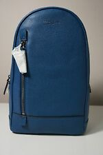 Michael Kors Men's Russel Leather Ocean Blue Medium Sling Pack Bag