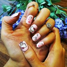 New 24 pcs HelloKitty Cute 3D Short fake false nails tips sticker gule N3027