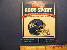 temporary tattoos, football, giants (2 in package)