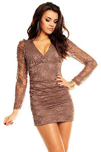 Womens Long Sleeve Sexy Lace Bodycon Evening Party Club Mini Dress size 8 10