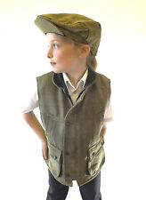 Campbell Cooper Kids Classic British Country Wear Tweed Waistcoat Green 6-7 Years