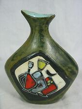 Well shaped goat skin covered 50´s-60´s Alla Moda design pottery vase Italy