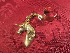Goldtone Crystal Unicorn Head Dangle Charm Fashion Ear Cuff Earring