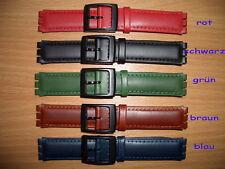 Lederarmband passend für Swatchuhren, 17mm, versch. Farben