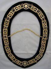 Silver #02 Past Master Masonic Chain Collar & Dark Blue Velvet Backing Mason