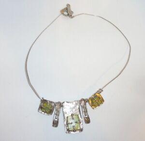 Modernist LULI HAMERSZTEIN Israel Sterling Silver &  Roman Glass Necklace