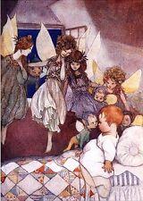 Susan B. Pearse Art Card Child Fairies Bedtime Visit Quilt