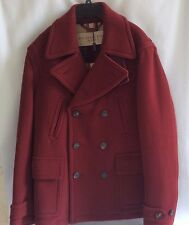 NWT Burberry Brantford  Coat  Maroon Large XL Wool Made in England Retail$1295
