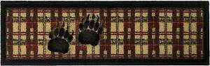 """Bear Paw"" STAIR TREAD SET Lodge Cabin Mat Rug Non-Slip Rubber Backing Red Black"