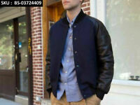Navy Blue Wool Varsity Letterman Bomber Baseball Jacket Black Leather Sleeves