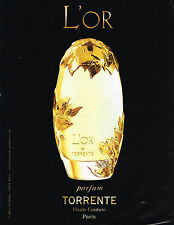 PUBLICITE ADVERTISING 104  2013  L'OR  de TORRENTE  parfum femme          161014
