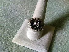 Black Jet and Cubic Zirconia Horseshoe Ring in Sterling Silver