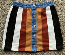 Women's Cute Forever 21 Striped Suede Front Button Short Skirt Size S