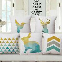 "18"" Home Cotton Linen Car Sofa Bed Decor Waist Cushion Pillow Case Cover Elk"