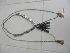 """Ancien grand collier en émail """"Limoges"""" signé vintage"""