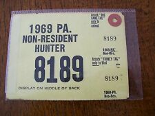PA PENNSYLVANIA GAME FISH COMMISSION NON-RESIDENT HUNTING LICENSE 1969 *8189