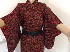 Authentic giapponese Nero & Rosso Lana Kimono per Donna, Giappone Importazione, M (m1157)