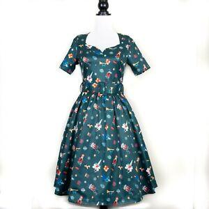 Lindy Bop 'Maisey' Vintage Nutcracker Ballet Christmas Print Swing Dress BNWT 10