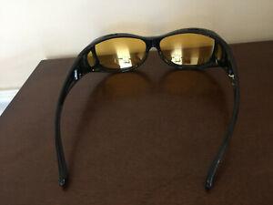 Night Sight Goggles / Sunglasses black Frame yellow rectangle Lens Polarized