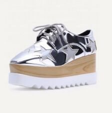 Silver Star Lace Up Shoes EUR37 (UK3-4)