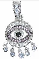 JUDITH RIPKA Sterling Silver Multi Gemstone Cz Evil Eye Enhancer Pendant