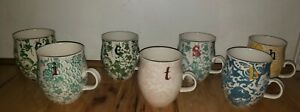 Anthropologie LOT OF 7 Homegrown Floral Monogram Initial Coffee Mugs C I T S B H