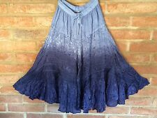 Blue Dip Dye Tiered Skirt Boho Gypsy Peasant India Hippie Just Cruising One Size