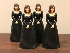 4 Vintage Bridesmaid Black Dress Cake Topper Cake Decoration Lot # 14