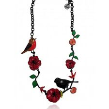 Lol Bijoux - Collier Rossignol sur sa Branche - Coquelicots Rouge Cerise