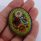 RARE+Vintage+Antique+1.5%22+Micromosaic+Micro+Mosaic+Brooch+Pin+Jewelry+Flowers+NR