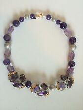 NEW Alexis Bittar Purple Feather 3 Clustered Strand Necklace.