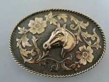 Vintage Fleming Sterling Silver 10K Gold Horse Head Engraved Western Buckle