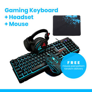 Gaming Keyboard Mouse Headset Mouse Pad Combo Waterproof USB Wired Backlight LED