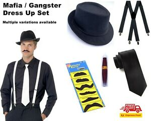 Mafia Gangster Gatsby Dressup Party 5 pc Kits Cigar Tie Suspenders Hat Mustache