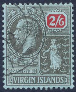 VIRGIN ISLANDS 1922-28 KGV DEFINITIVE SCRIPT CA 2/6D VERY FINE CDS USED. SG 100.