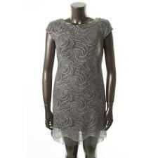 S.L. Fashions Silver Metallic Fringe Lined Dress Sz.12