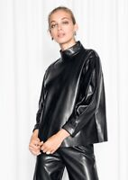 Women Natural Lambskin Leather High Neck Long Sleeve Top