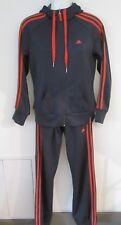 Cute Retro Grey and Orange Adidas Full Tracksuit Set, Cuffed Ankles, Hoodie 8-10