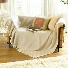 Como 100% Cotton Throw. Biscuit Herringbone 152 x 127 cm . Ideal Sofa Blanket